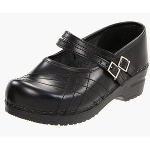 Sanita Claire Cabrio Black Leather Mary Jane Clogs